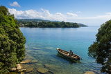 View over a Canoe on Nkhata Bay, Lake Malawi, Malawi, Africa Fotografisk tryk af Michael Runkel