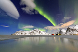Northern Lights (Aurora Borealis) Reflected in the Cold Waters Photographic Print by Roberto Moiola