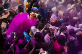 Lathmar Holi Celebrations in Bankei Bihari Temple, Vrindavan, Braj, Uttar Pradesh, India, Asia Photographic Print by Ben Pipe