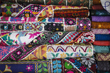 Colourful Hand Woven Fabrics at Mapusa Market, Goa, India, Asia Photographic Print by Yadid Levy