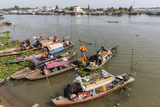 Families in their River Boats at the Local Market in Chau Doc, Mekong River Delta, Vietnam Photographic Print by Michael Nolan