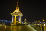Night Photograph of the Statue of Norodom Sihanouk, Phnom Penh, Cambodia, Indochina Photographic Print by Michael Nolan