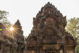 Ornate Carvings in Red Sandstone at Sunset in Banteay Srei Temple in Angkor, Siem Reap, Cambodia Photographic Print by Michael Nolan