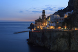 Amalfi Coast Road Light Trails from Cars with Church of Santa Maria Maddalena at Blue Hour Photographic Print by Eleanor Scriven