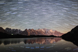 Star Trail over Mont Blanc Range Seen from Lac Des Cheserys Photographic Print by Roberto Moiola
