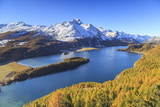Autumn Approaching at Lake Sils Near St.Moritz in Engadine Photographic Print by Roberto Moiola