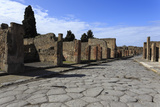 Long Cobbled Street, Roman Ruins of Pompeii, UNESCO World Heritage Site, Campania, Italy, Europe Photographic Print by Eleanor Scriven