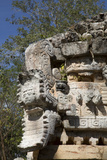 Serpent's Head with Human Face, the Palace, Labna, Mayan Ruins, Yucatan, Mexico, North America Photographic Print by Richard Maschmeyer