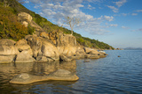 Otter Point at Sunset, Cape Maclear, Lake Malawi National Park, Malawi, Africa Fotografisk tryk af Michael Runkel