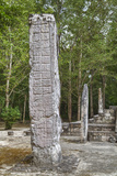 Stelae in Front of Structure 1, Calakmul Mayan Archaeological Site, Campeche, Mexico, North America Photographic Print by Richard Maschmeyer