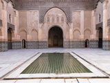 Central Courtyard and Pool, Medersa Ali Ben Youssef, Medina, Marrakesh, Morocco Photographic Print by Stephen Studd