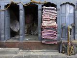 Traditional Fabric Shop in Kathmandu, Nepal, Asia Photographic Print by John Woodworth