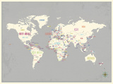 Grey World Map Print Schilderijen van Rebecca Peragine