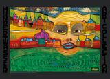 Irinaland Über Dem Balkan Plakater af Friedensreich Hundertwasser