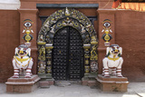 Lion Statues Outside a Gate at the Taleju Temple, Durbar Square, Kathmandu, Nepal, Asia Photographic Print by John Woodworth