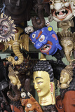 Masks on Sale in a Shop in Kathmandu, Nepal, Asia Photographic Print by John Woodworth