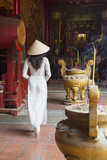 Woman Wearing Ao Dai Dress at Ha Chuong Hoi Quan Pagoda, Cholon, Ho Chi Minh City, Vietnam Photographic Print by Ian Trower