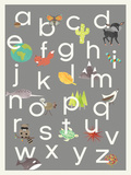 Nature Themed Grey Alphabet Poster Prints by Rebecca Peragine