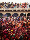 Lathmar Holi Celebrations in Nand Rae Temple, Nandagaon, Braj, Uttar Pradesh, India, Asia Photographic Print by Ben Pipe
