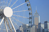Ferris Wheel and Wan Chai Skyline, Hong Kong Island, Hong Kong, China, Asia Photographic Print by Ian Trower