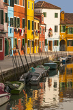 Colored House Facades Along a Canal, Burano Island, Venice, Veneto, Italy Photographic Print by Guy Thouvenin