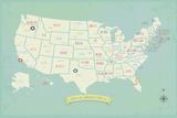 My Travels Customizable USA Map Print Posters van Rebecca Peragine