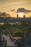 Couple at Fukuoka Castle Ruins at Sunset, Fukuoka, Kyushu, Japan Photographic Print by Ian Trower