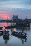Boats on Can Tho River at Sunset, Can Tho, Mekong Delta, Vietnam, Indochina, Southeast Asia, Asia Photographic Print by Ian Trower