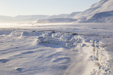 Adventdalen Valley, Frozen Sea Ice of Adventfjorden (Advent Bay), Svalbard Photographic Print by Stephen Studd