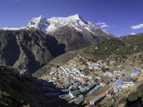 The Town of Namche Bazaar with the Kongde Ri (Kwangde Ri) Mountain Range in the Background Photographic Print by John Woodworth