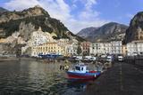 Fisherman in Fishing Boat and Amalfi Town, Costiera Amalfitana (Amalfi Coast), Campania, Italy Photographic Print by Eleanor Scriven