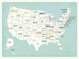 Blue USA Map Print Print van Rebecca Peragine