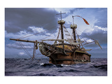 Abandoned Sail Ship At Sea Prints