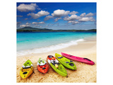 Colorful Kayaks & Exotic Beach Prints