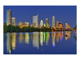 Austin Dawn Skyline Reflection Poster
