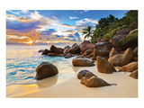 Boulders Tropical Beach Sunset Posters