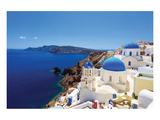 Blue Domed Santorini Churches Posters