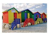 Colored Beach Huts Cape Town Posters