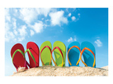 Colorful Flipflops Sunny Beach Poster