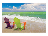 Colorful Beach Lounge Chairs Stampe