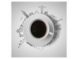 Coffee Cup & Global Landmarks Prints
