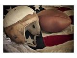 Football Helmet Pigskin & Flag Affiche