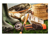 Fly Fishing Equipment on Grass Print