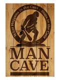 Caution! Man Cave Print by  SM Design