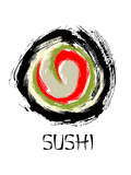 Abstract Sushi Roll Poster