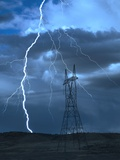 Lightning Striking Metal Print by Jeff Vanuga