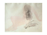 Seated Nude with Dishevelled Hair (W/C on Paper) Metal Print by Auguste Rodin