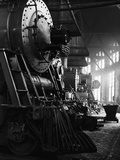 Locomotives in Roundhouse Metal Print by Jack Delano