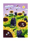 Black Cats Watching Honeybees on Sunflowers Metal Print by Lisa Berkshire