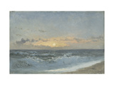 Sunset over the Sea, 1900 (Oil on Board) Metal Print by William Pye